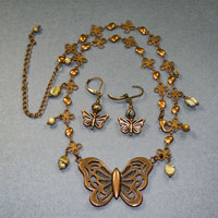"Antique Copper 17-21"" Butterfly With Red Creek Jasper Necklace/Earrings $38"
