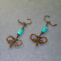 Antique Copper With Turquoise Butterfly Earrings $28