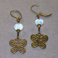 Antique Brass With Sea Opal Earrings $18