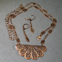 "Antique Copper 17-21"" Necklace/Earring Set $38"