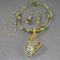 "17-21"" 14Kgf Roman Glass Wire Wrap Set $64.00"