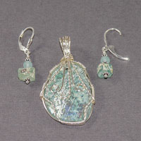 Sterling Silver Wire Wrap Roman Glass  Set $48.00