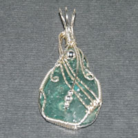 Sterling Silver Roman Glass Wire Wrap Pendant $44.00