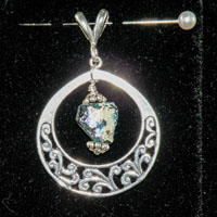 Sterling Silver Roman Glass Shard Pendant Sterling Silver Filigree Ring $28.00