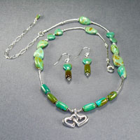 "Sterling Silver Green Turquoise Hart Pendent 16- 20""-$40"