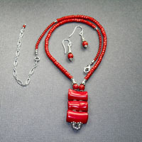 "Sterling Silver 16-20"" Red Coral 3 stone drop $44"