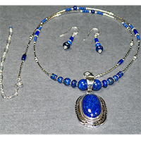 "Sterling Silver 22-26"" Oval Center Lapis Lazuli Necklace/Earring Set $84"