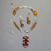 Sterling Silver Baltic Amber 3 stone drop Necklace/Earrings Set $44