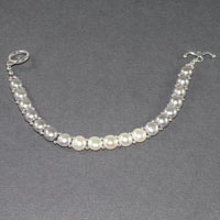 "Sterling Silver Double Drilled Fresh Water Pearl 8"" Toggle Bracelet $34.00"