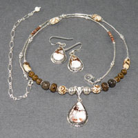 "19-23"" Sterling Silver White Buffalo Turquoise Set $68.00"